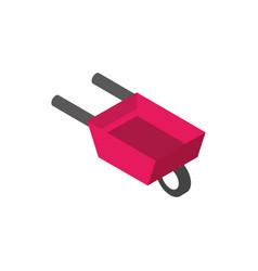 farm wheelbarrow equipment rural isometric icon vector image