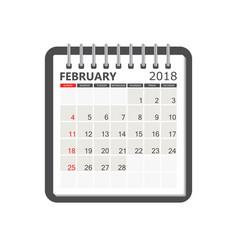 february 2018 calendar calendar notebook page vector image