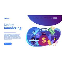 Financial crimes concept landing page vector