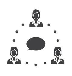 Flat black employee icon vector