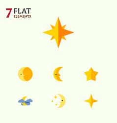 Flat icon midnight set of asterisk lunar vector