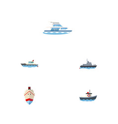 flat icon ship set of delivery sailboat vector image vector image