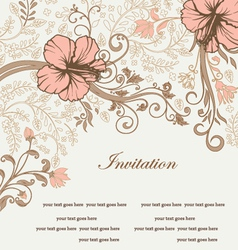 Floral invitation card with tree branch vector