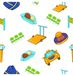 Flying on plane pattern cartoon style vector