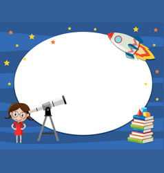 Frame template with girl and telescope vector