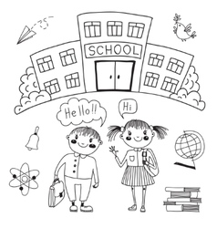 Friends are waiting for you at school vector