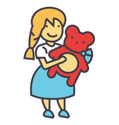 Girl with teddy bear concept line icon vector