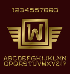golden letters and numbers monogram winged frame vector image