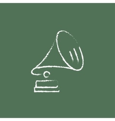 Gramophone icon drawn in chalk vector