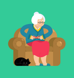 grandmother and joystick granny play video games vector image