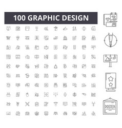 Graphic design line icons signs set vector