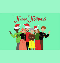 group friends at christmas graphics vector image