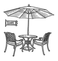 Hand drawn street cafe - table two chairs vector