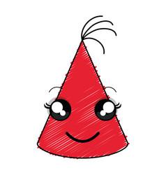 Hat birthday celebration kawaii character vector