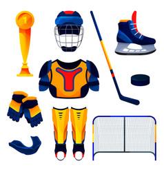 hockey equipment set training tools flat icons vector image