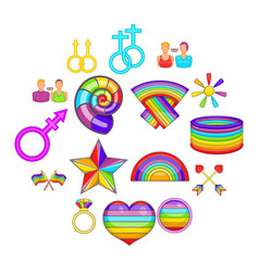 homosexual icons set cartoon style vector image