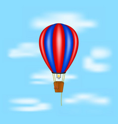hot air balloon flying on blue sky vector image