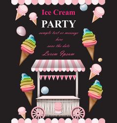 ice cream party invitation card summer vector image