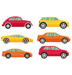 isolated cars set flat design style vector image