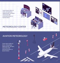 Isometric meteorological weather center banner set vector