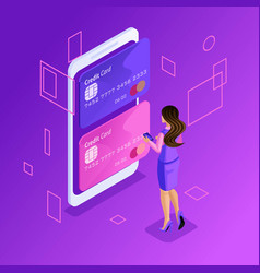 isometric online bank account transferring money vector image