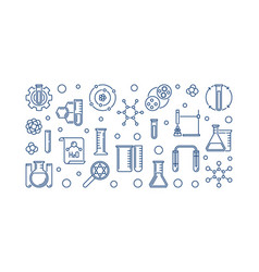 laboratory equipment concept line banner vector image