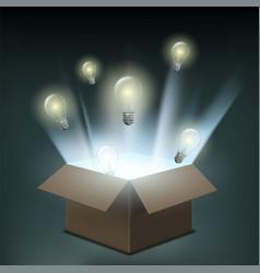 light bulbs fly out a cardboard box vector image