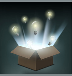 light bulbs fly out of a cardboard box vector image