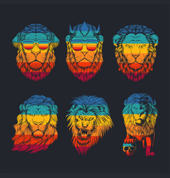 lion collection retro vector image
