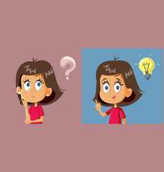 Little girl having a question finding the answer vector