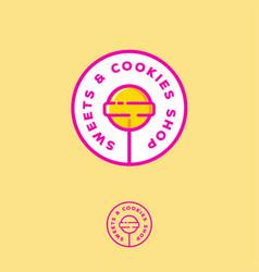 Logo sweets cookies shop lollipop vector