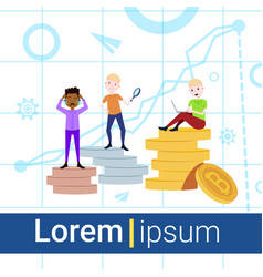 Man on podium coins stack loser winner success vector