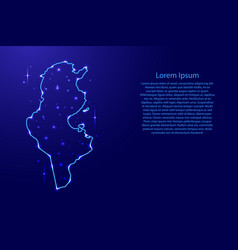 map tunisia from the contours network blue vector image