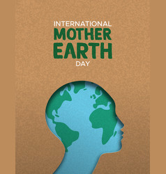 mother earth day poster of paper cut woman head vector image