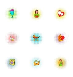 Mothers day holiday icons set pop-art style vector image