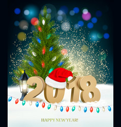 new year background with 2018 and colorful vector image