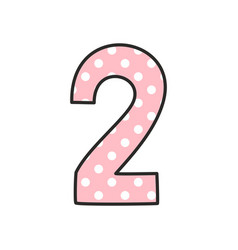 Number 2 with white polka dots on pastel pink vector