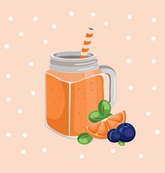 orange smoothie fresh drink retro style vector image
