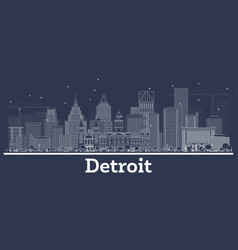 outline detroit michigan city skyline with white vector image