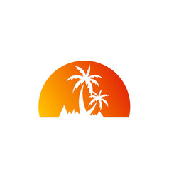 Palm tree sunset tropic logo vector