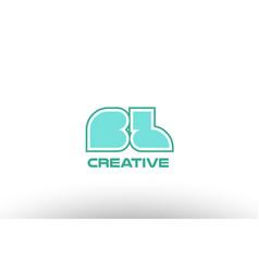 Pastel green alphabet letter bl b l combination vector