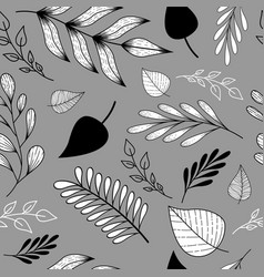 pattern with doodle leaves and branches vector image