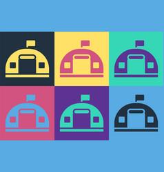 Pop art military barracks station icon isolated vector