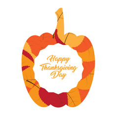 pumpkin silhouette with a label thanksgiving day vector image