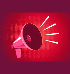 Retro megaphone on red background vector