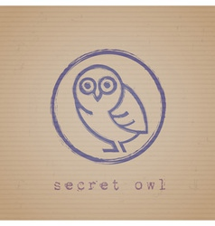 Rubber stamp of owl vector