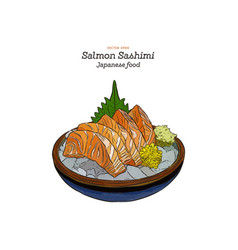 salmon sashimi raw fish in traditional japanese vector image