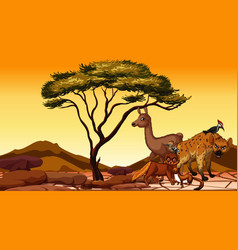 Scene with many animals in fiel vector