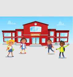School building and kids playing games at break vector