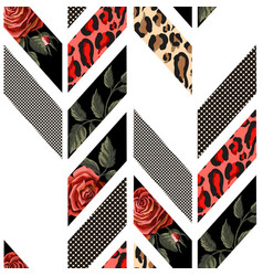 seamless pattern with roses leopard skin vector image